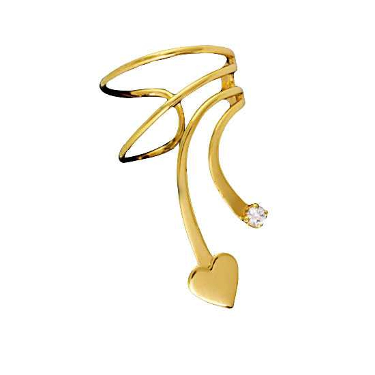 Gold Vermeil Right Only Short Wave Heart And Cubic Zirconia Ear Cuff