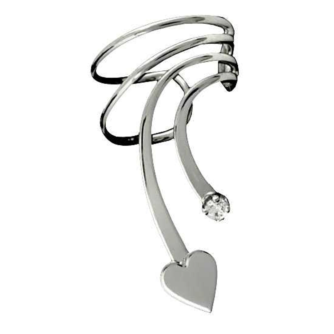 Pierceless Right Only Short Wave Heart And Cubic Zirconia Ear Cuff