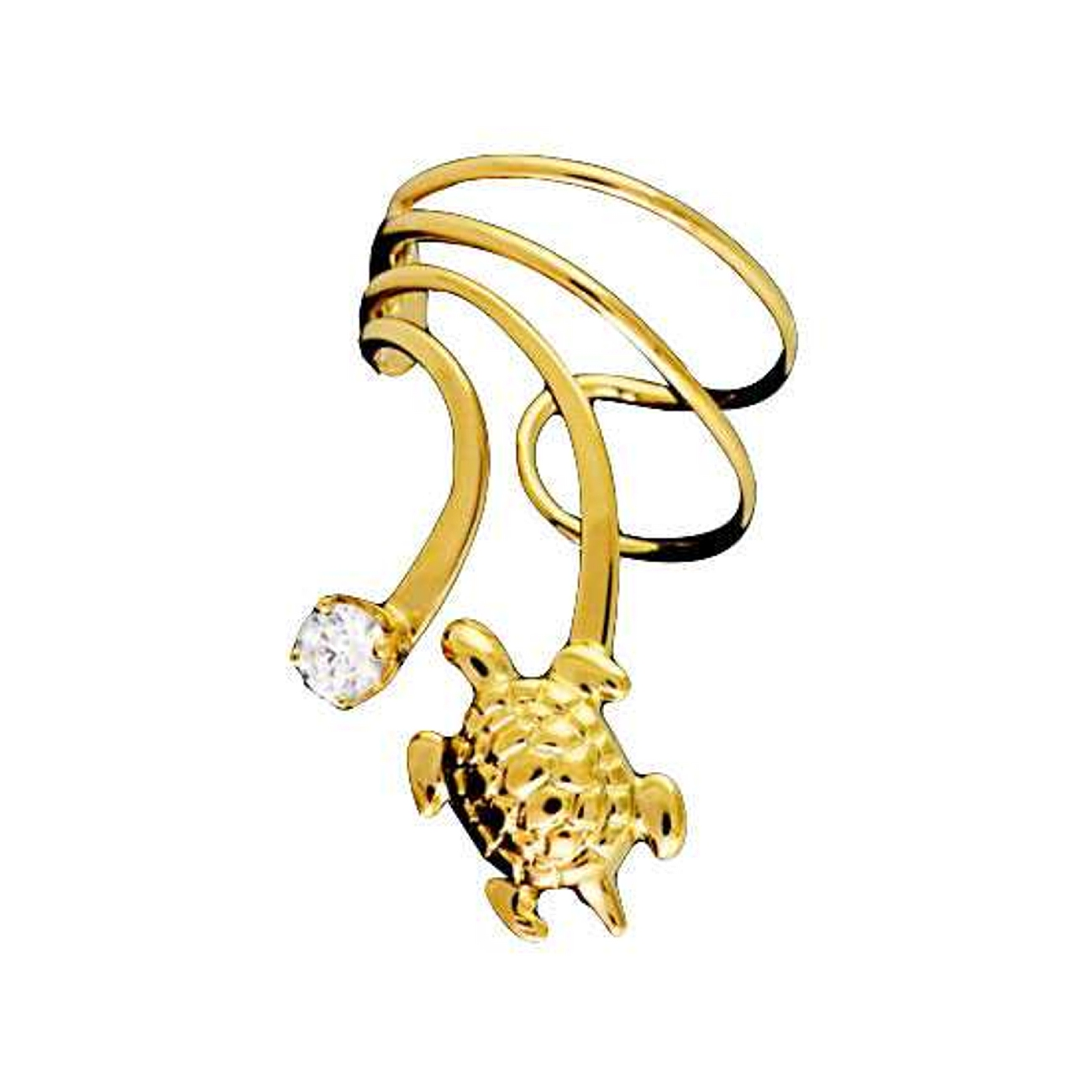 Vermeil Pierceless Left Only Turtle Cubic Zirconia Wave Ear Cuff