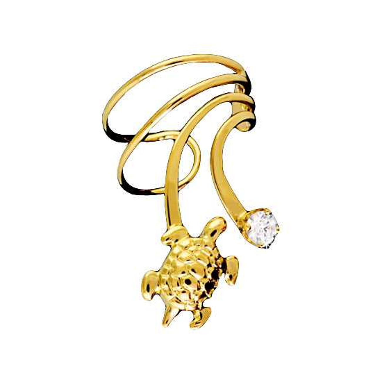 Vermeil Pierceless Right Only Turtle Cubic Zirconia Wave Ear Cuff
