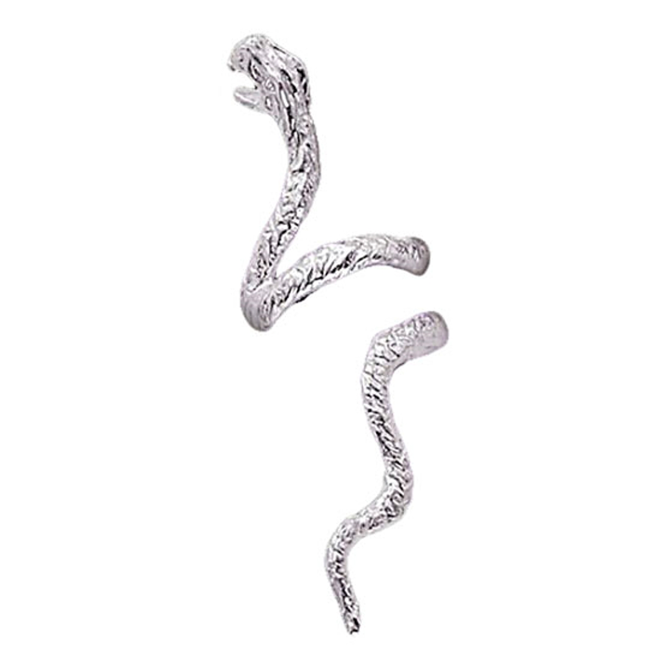 Sterling Silver Pierceless Left Open Mouthed Snake Ear Cuff