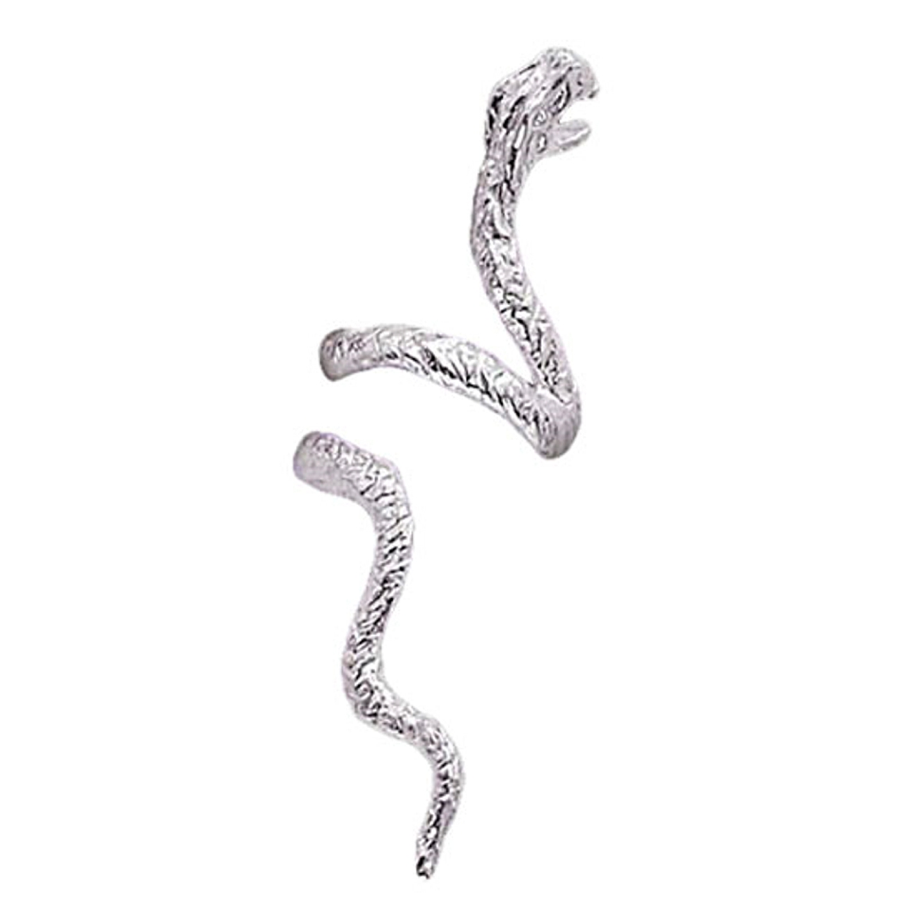 Sterling Silver Pierceless Right Open Mouthed Snake Ear Cuff