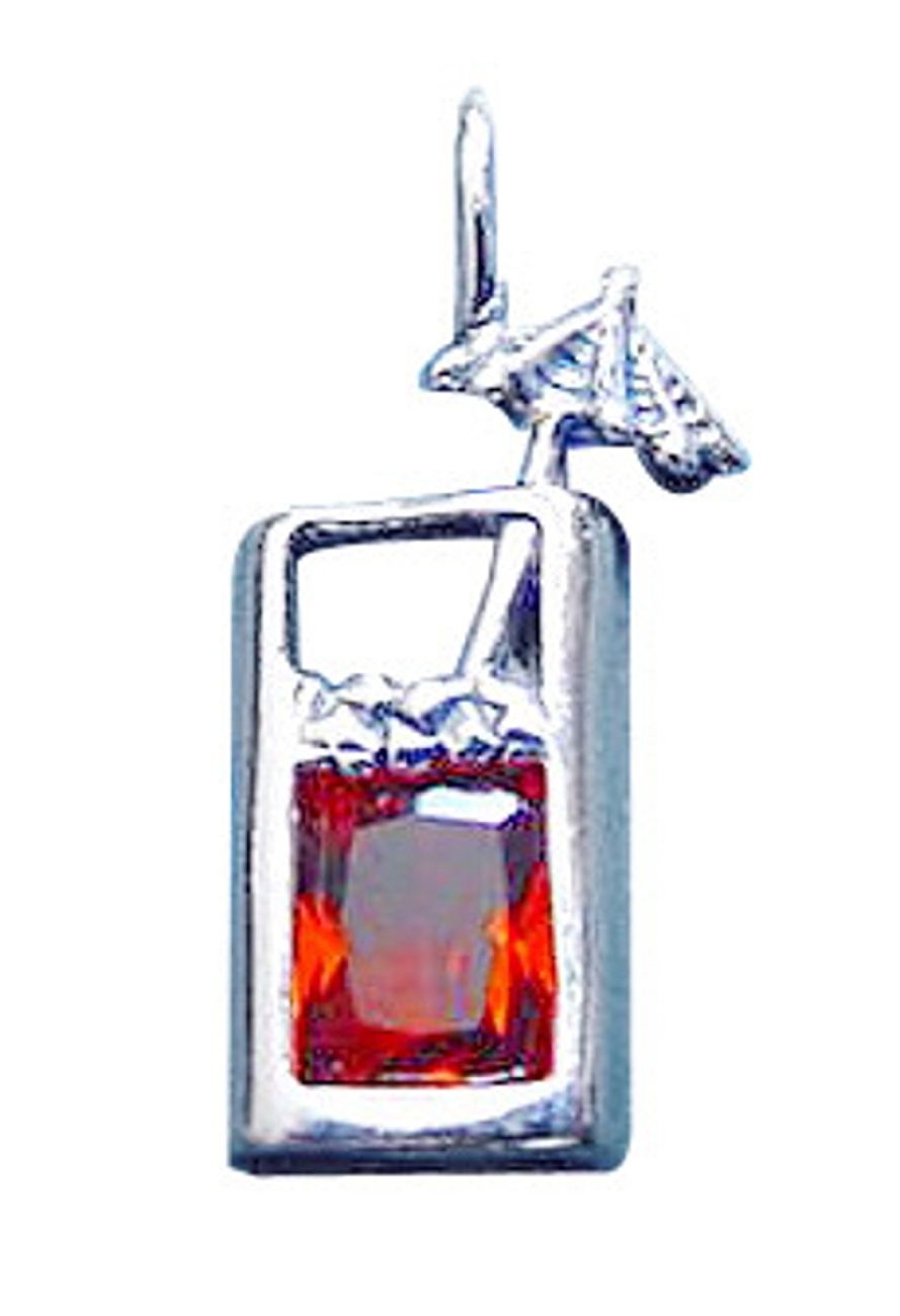 Sterling Silver Tall Glass Amber Cubic Zirconia Tropical Drink Pendant