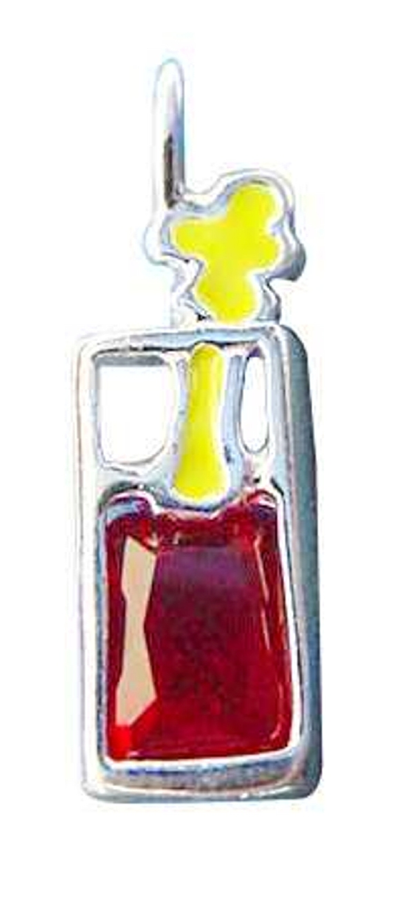 Sterling Silve Tall Glass Red Cubic Zirconia Bloody Mary Pendant