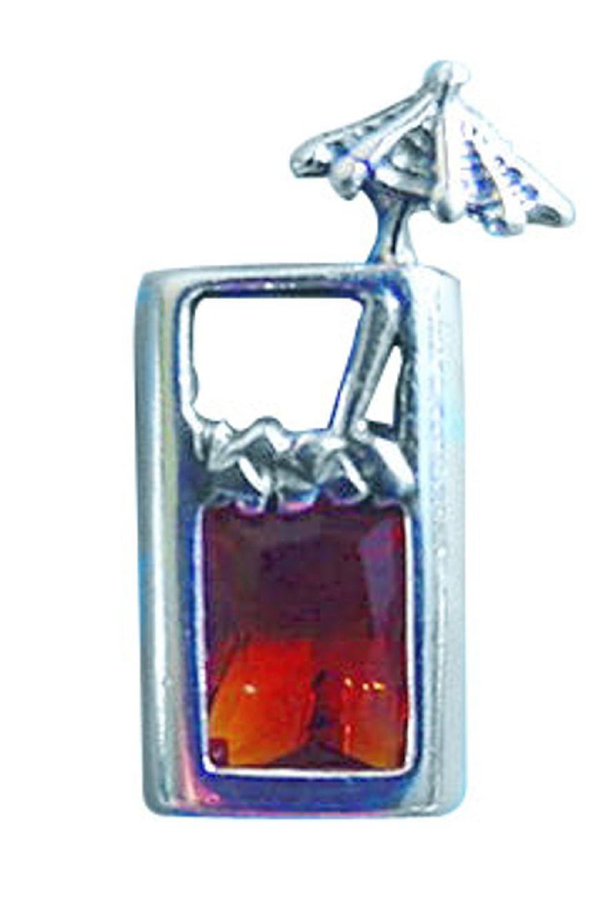 Sterling Silver Amber Cubic Zirconia Tropical Drink Pin