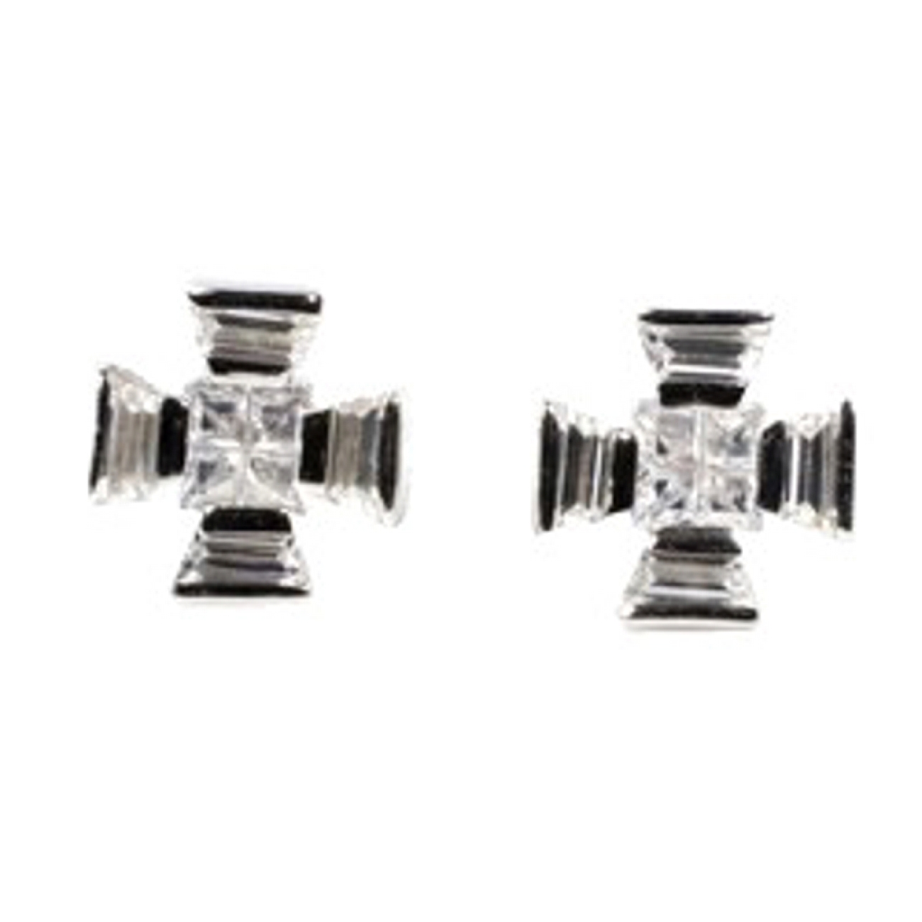 "1/2"" Silver Maltese Cross Clear Cubic Zirconia Post Men's Earrings"