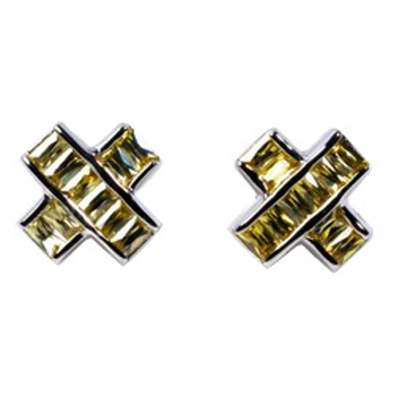 "1/4"" Silver Criss Cross Yellow Topaz CZ Men's Post Earrings"