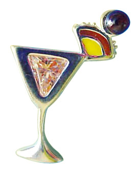 Sterling Silver Peach Cubic Zirconia Mai Tai Drink Pin
