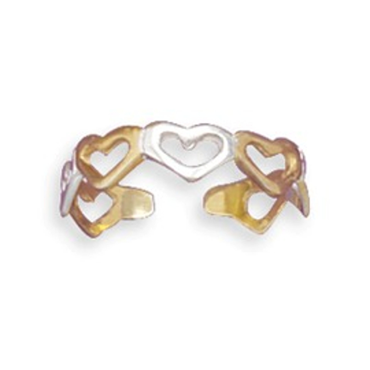 14kt Gold Plated Cut Out Hearts Adjustable Toe Ring