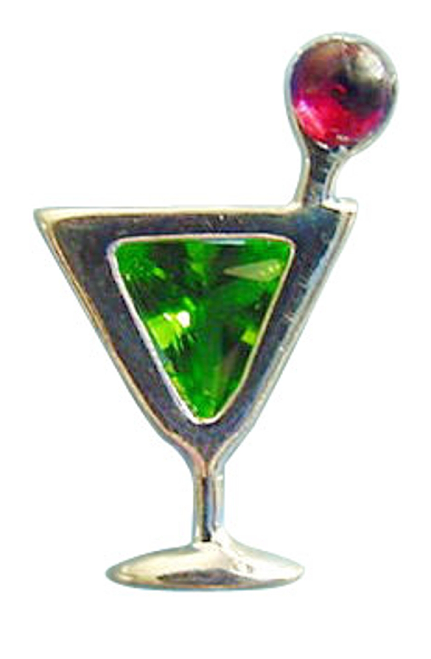 Sterling Silver Green Cubic Zirconia Appletini Cocktail Pin