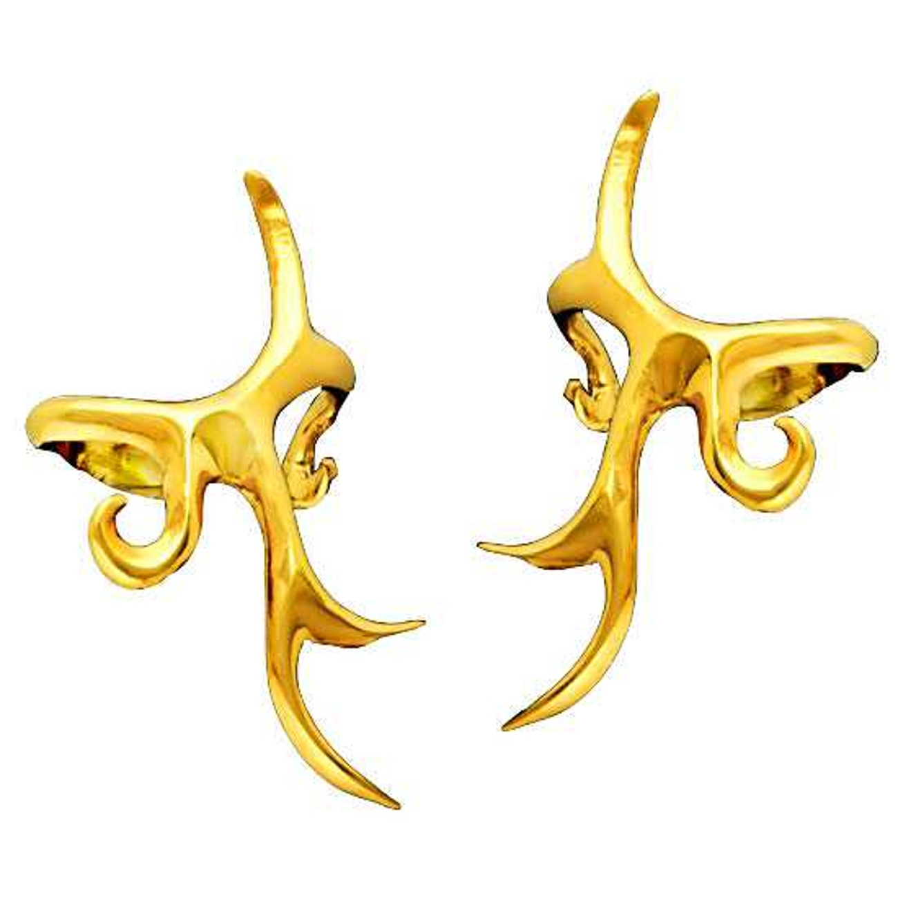 14kt Gold Vermeil Pierceless Left And Right Tribal Design Ear Cuff Set
