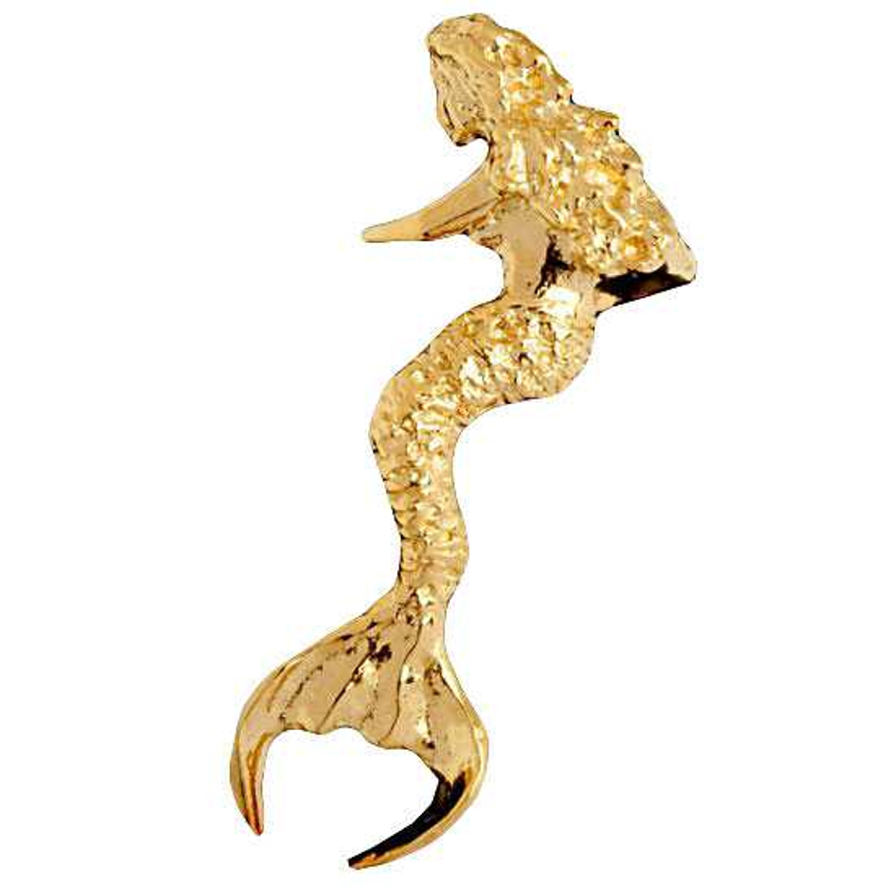 Left Only 14k Gold Vermeil Modest Mermaid With Long Hair Ear Cuff