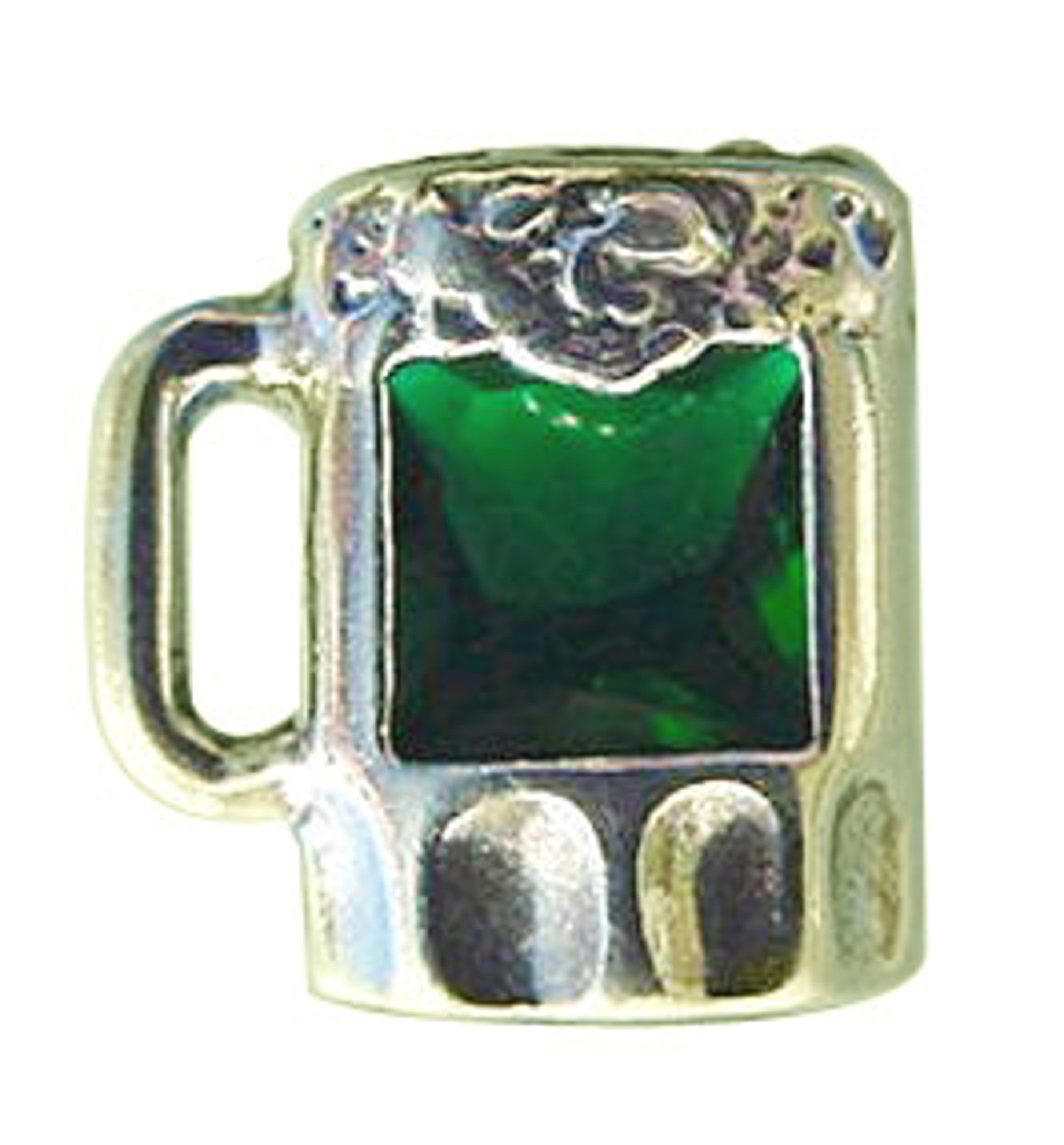 Sterling Silver Green Cubic Zirconia Mug OF Beer Pin