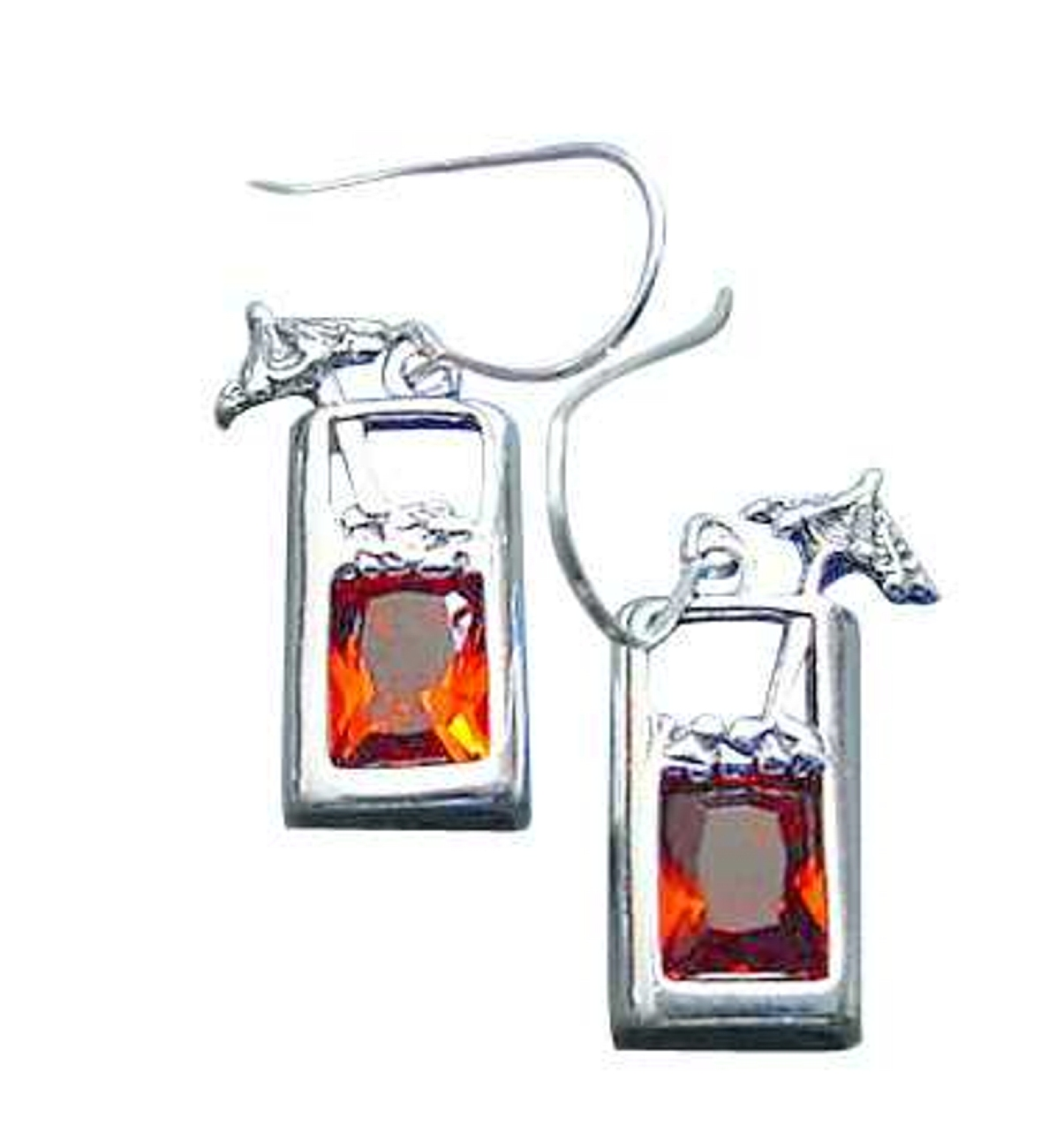 Sterling Silver Amber Cubic ZirconiaTropical Drink Cocktail Earrings