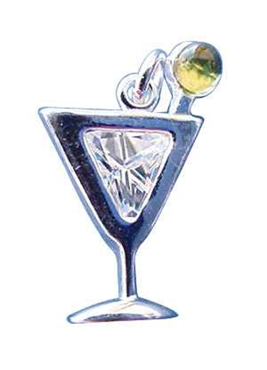 Sterling Silver Clear Cubic Zirconia Martini Beverage Charm