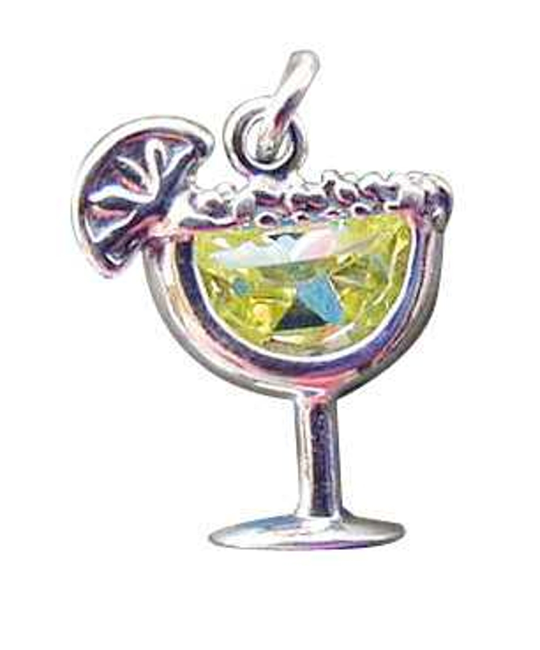 Sterling Silver Lemon-Lime Cubic Zirconia Cocktail Margarita Charm