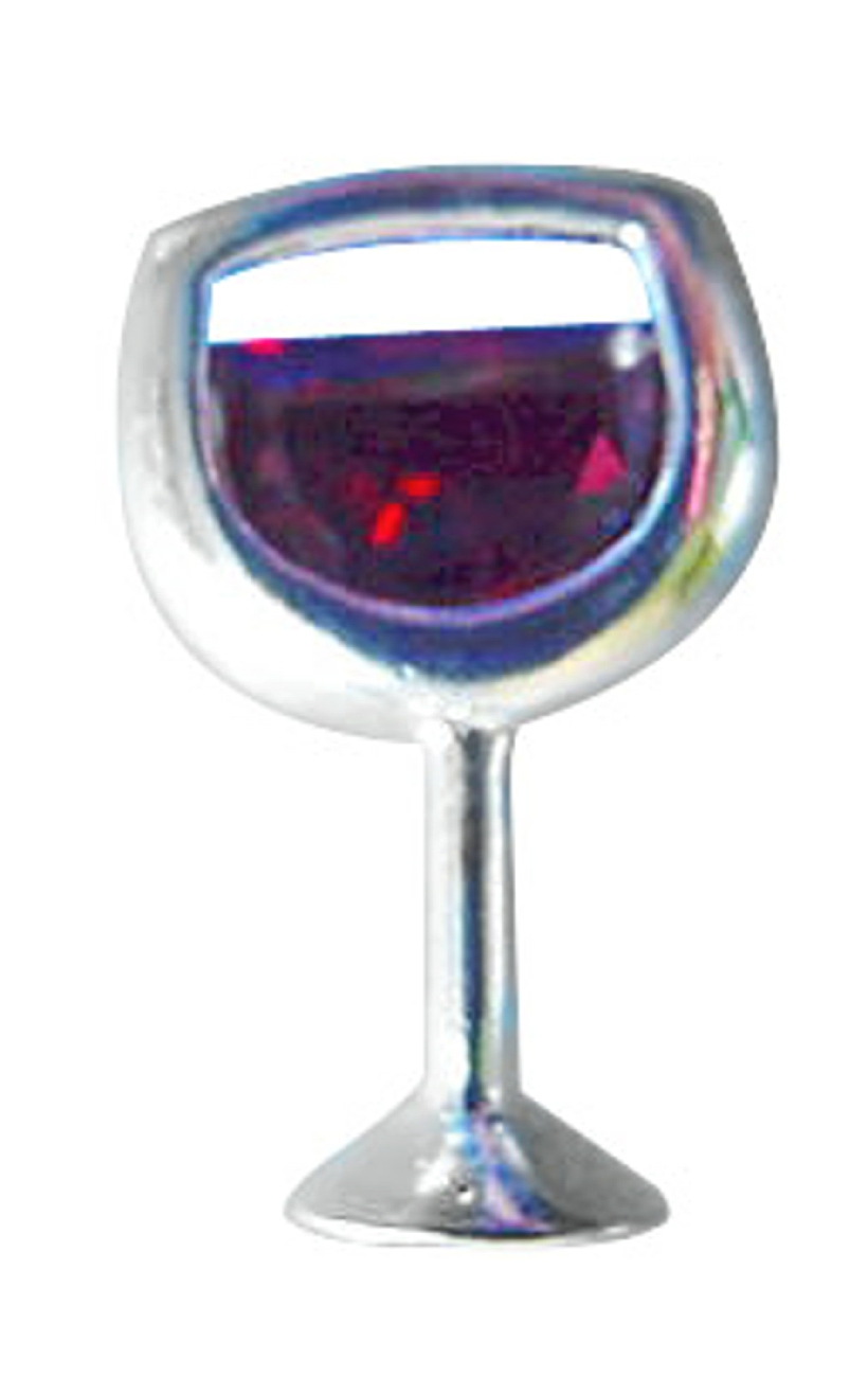 Sterling Silver Cubic Zirconia Glass Of Red Wine Pin