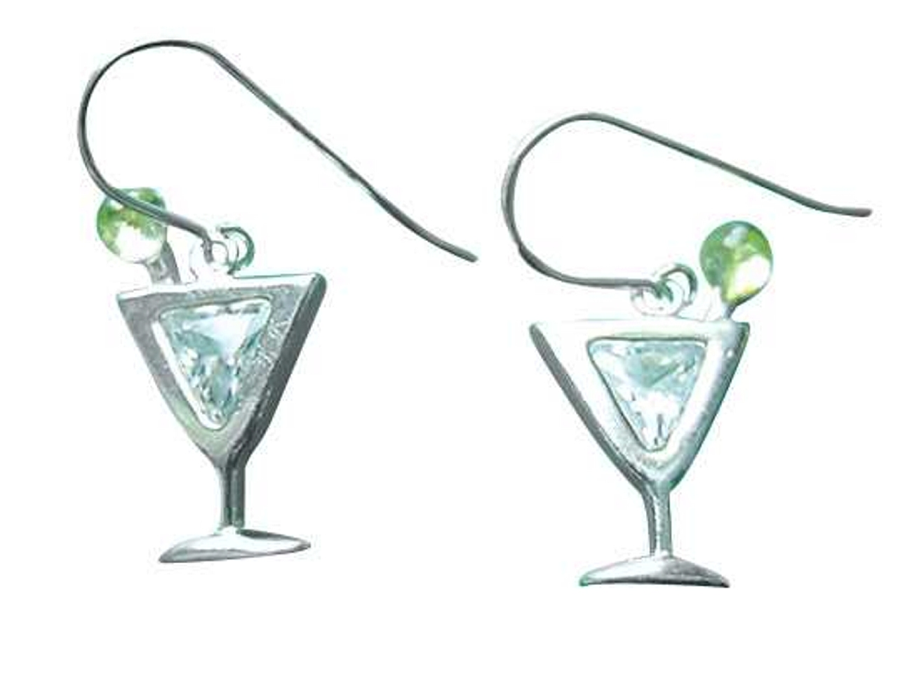 Sterling Silver Clear Cubic Zirconia Martini Glass Earrings