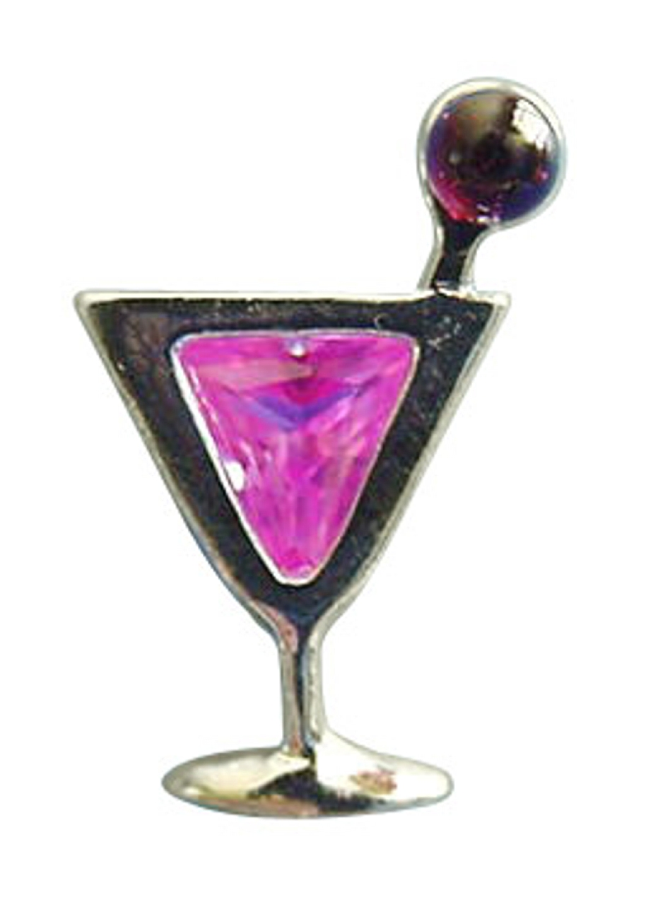 Sterling Silver Pink Cubic Zirconia Cosmopolitan Cocktail Pin