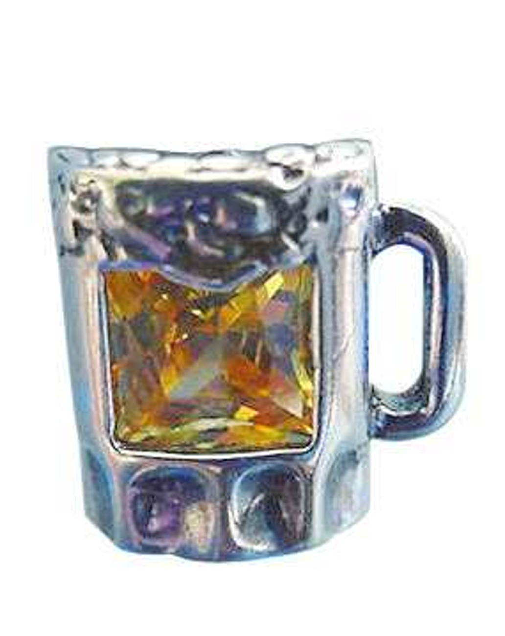 Sterling Silver Yellow Cubic Zirconia Mug OF Beer Pin