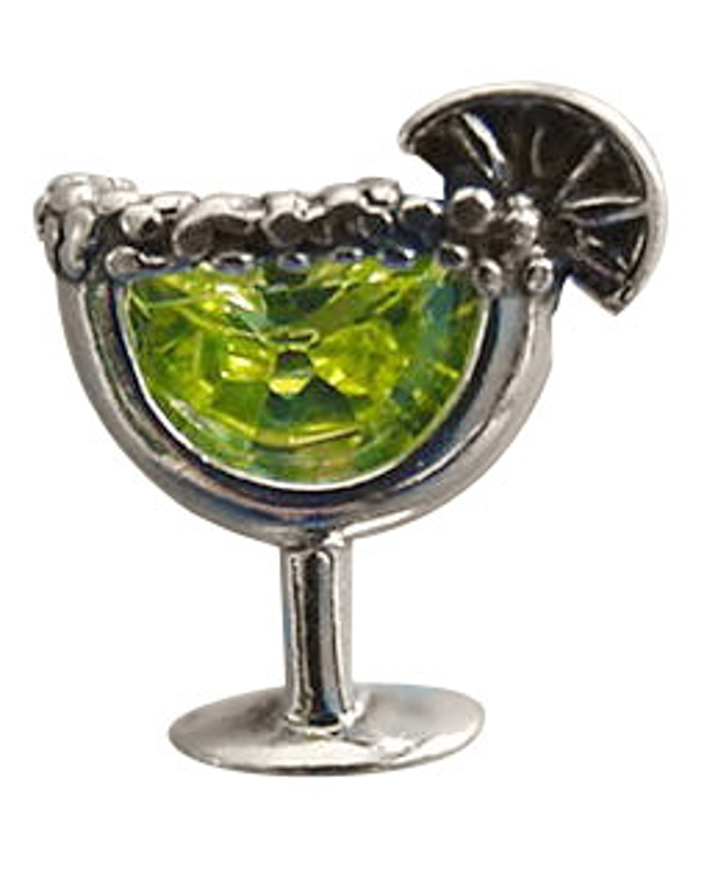 Sterling Silver Margarita Glass Pin With Salted Edge And Lime