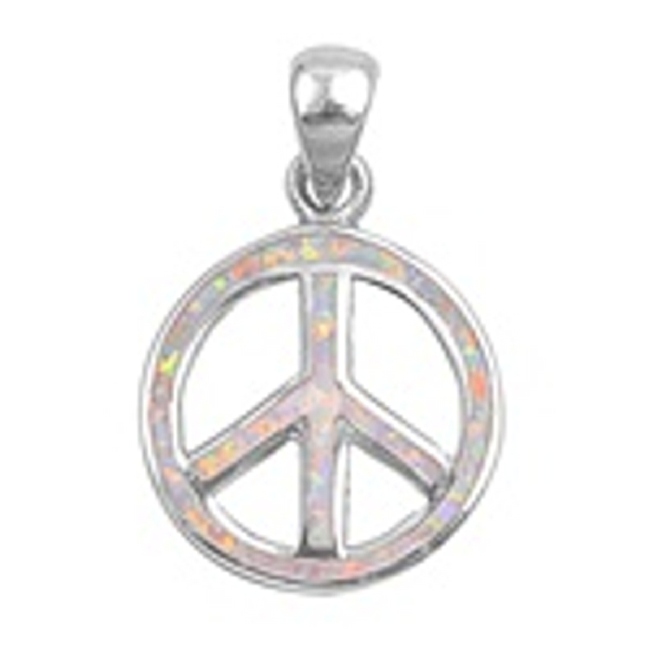 Sterling Silver Oval Cut-Out Peace Sign White Opal Pendant