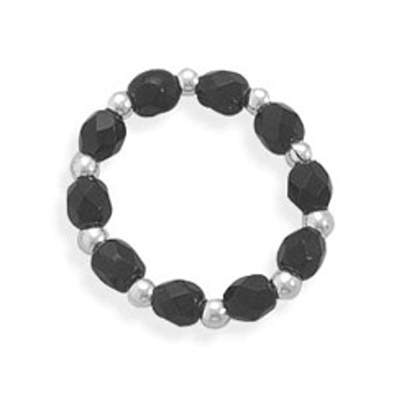 Sterling Silver And Black Glass Beaded Adjustable Stretch Toe Ring
