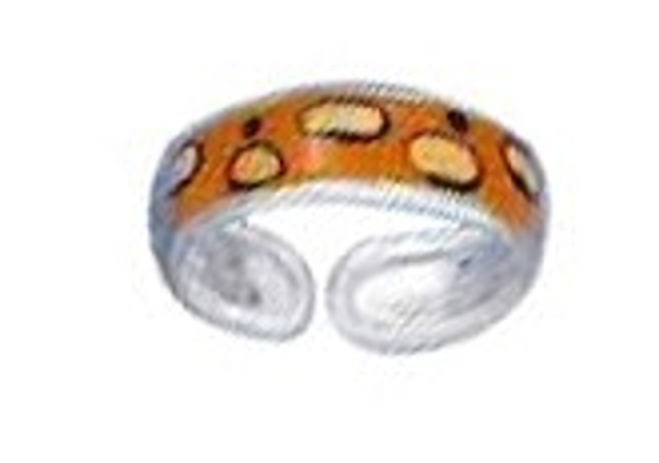 Orange Tan Cheetah Spots Enameled Toe Ring