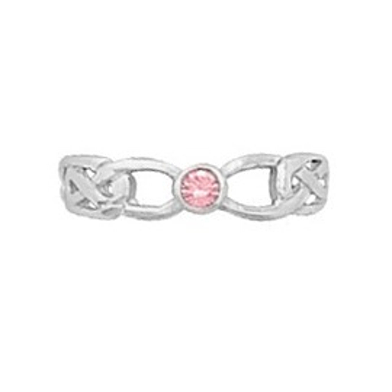 Pink Crystal Open Celtic Band Adjustable Toe Ring