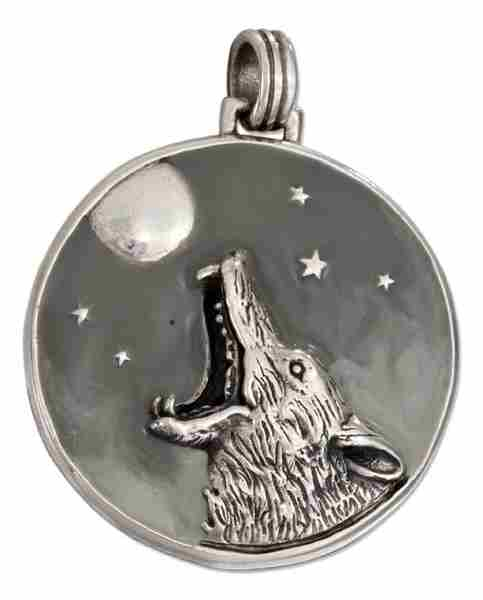 Coyote Wolf Howling At The Full Moon Pendant