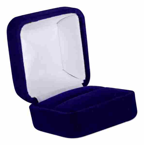 Small Square Deluxe Blue Velvet Over Metal Ring Jewelry Gift Box