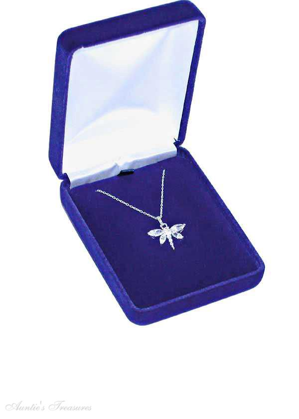 Deluxe Blue Velvet Pendant Necklace Jewelry Gift Box