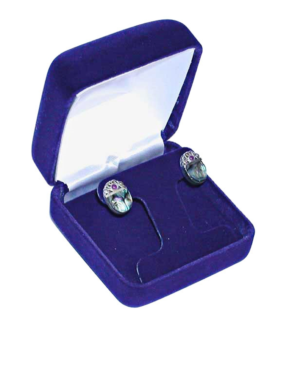 Square Deluxe Blue Velvet Earring Tree Jewelry Gift Box