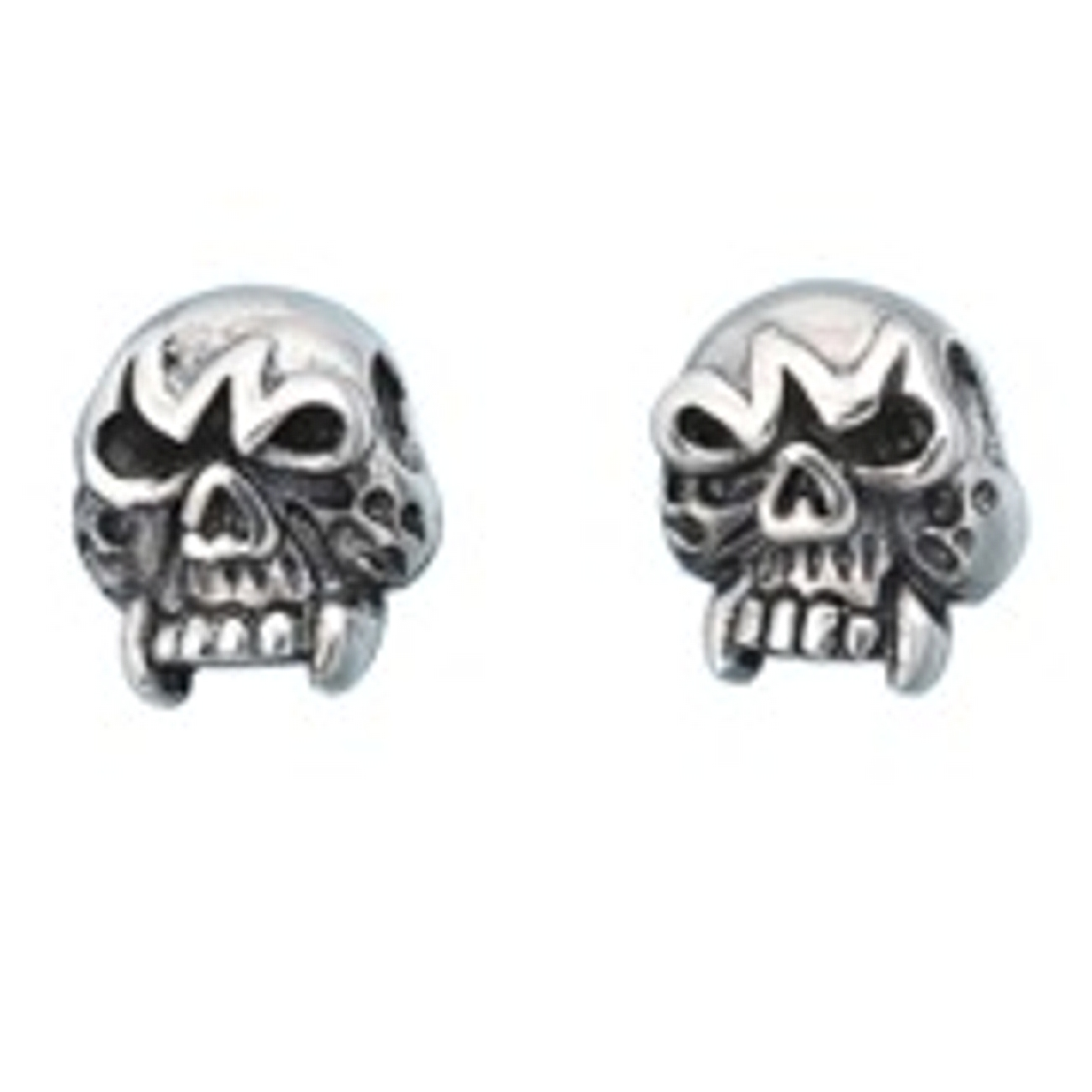 10mm Sterling Silver Upper Skull Face Post Men's Earrings