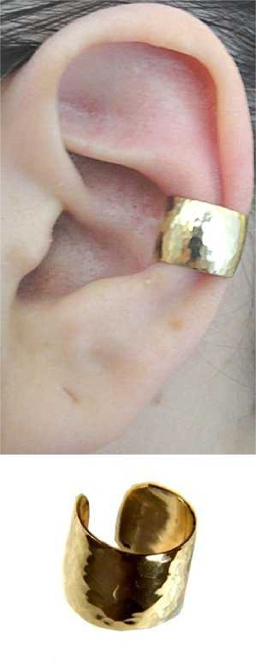 Gold Filled Nonpiercing Wide Hand Hammered Band Ear Cuff