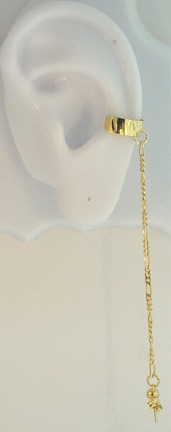 Left Or Right Gold Plated Bajoran Textured Slave Ear Cuff Chain