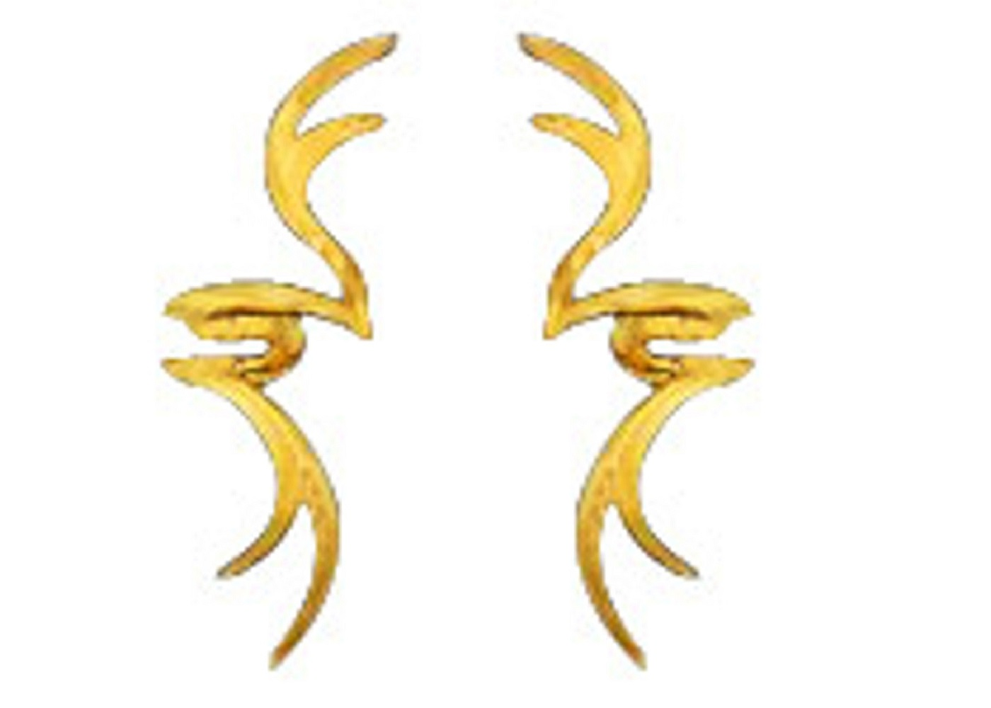 14kt Gold Vermeil Left And Right Stag Horn Tribal Design Ear Cuff Set