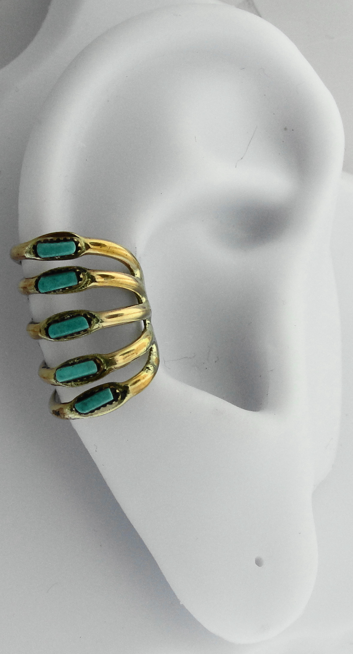 Left Or Right Sterling Silver Five Row Band Ear Cuff Turquoise Stones