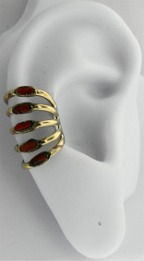 Left Or Right Gold Filled Five Row Band Ear Cuff Wrap Coral Stones