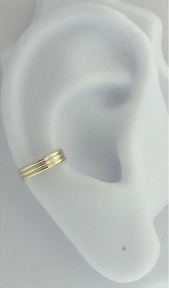 Left Or Right Gold Filled Nonpiercing Three Ridges Band Ear Cuff