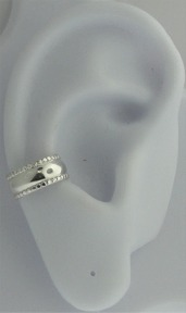 Sterling Silver Nonpiercing Plain Band With Edging Ear Cuff