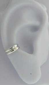 Left Or Right Nonpiercing Two Ridges Band Ear Cuff