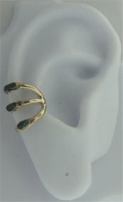 Left Or Right Sterling Silver Three Malachite Row Band Ear Cuff