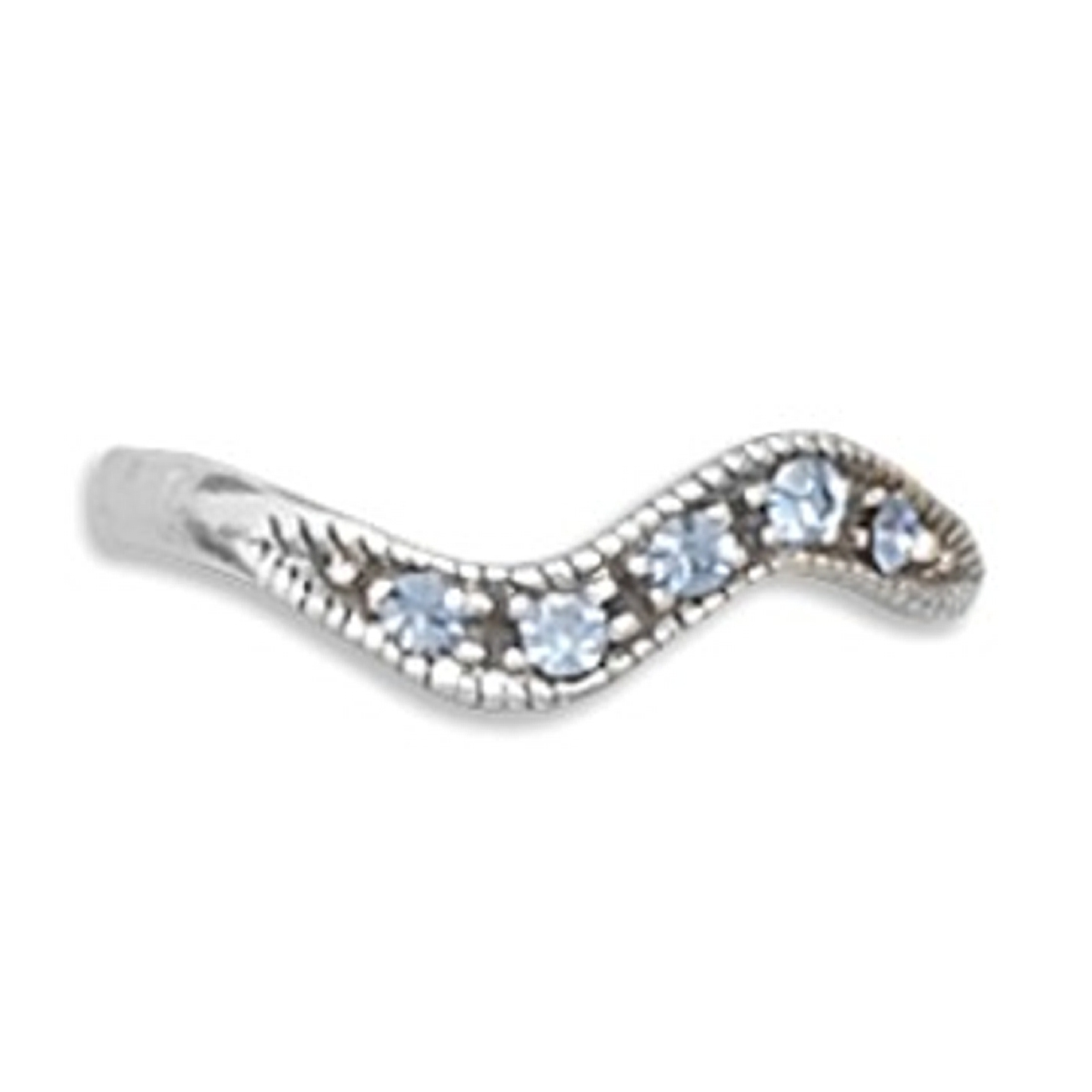 Blue Crystal Wave Band Adjustable Toe Ring