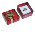 Small Square Red Marble Cardboard Ring Jewelry Gift Box