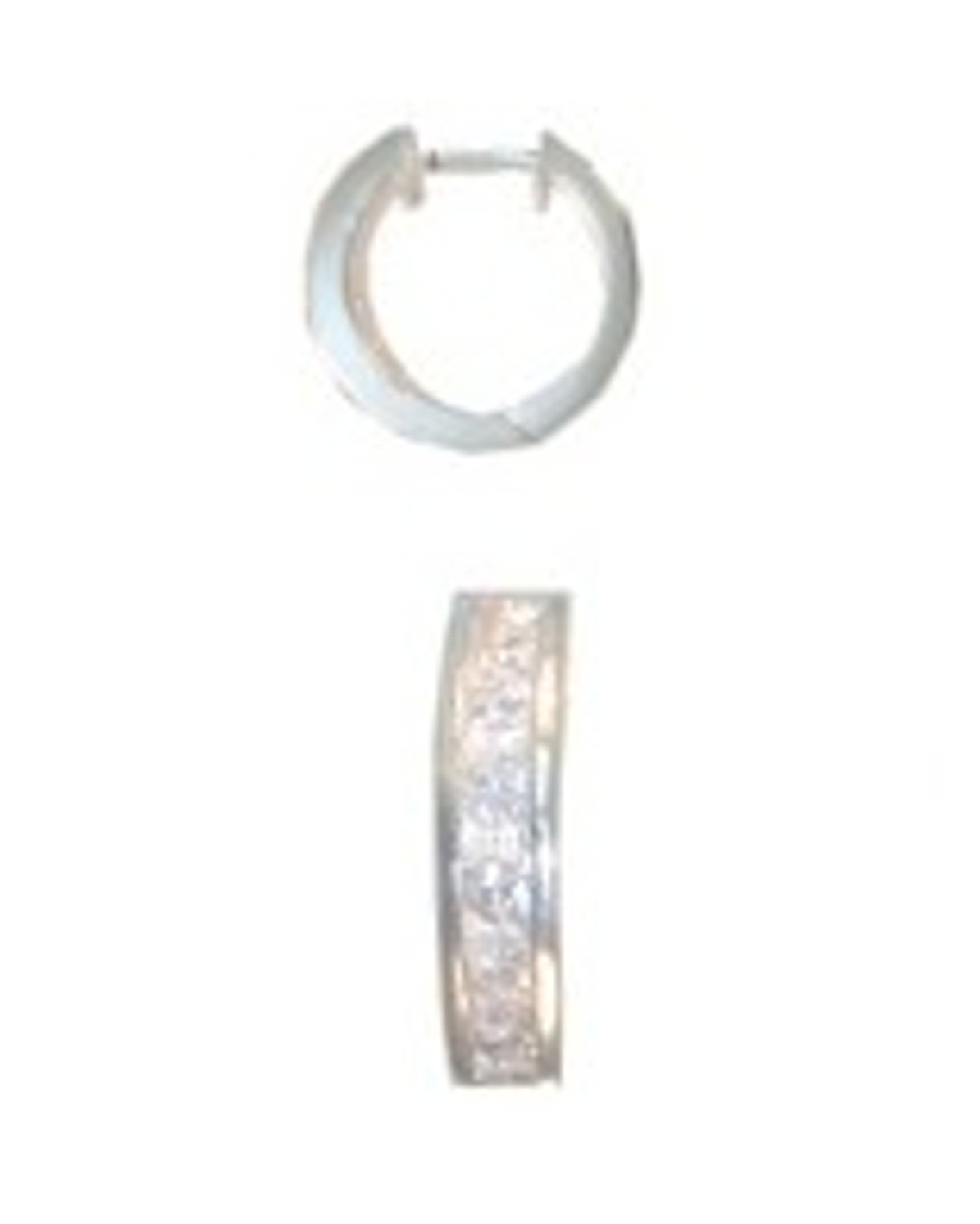 "15mm (19/32"") Men's Cubic Zirconia Single Hoop Earring"