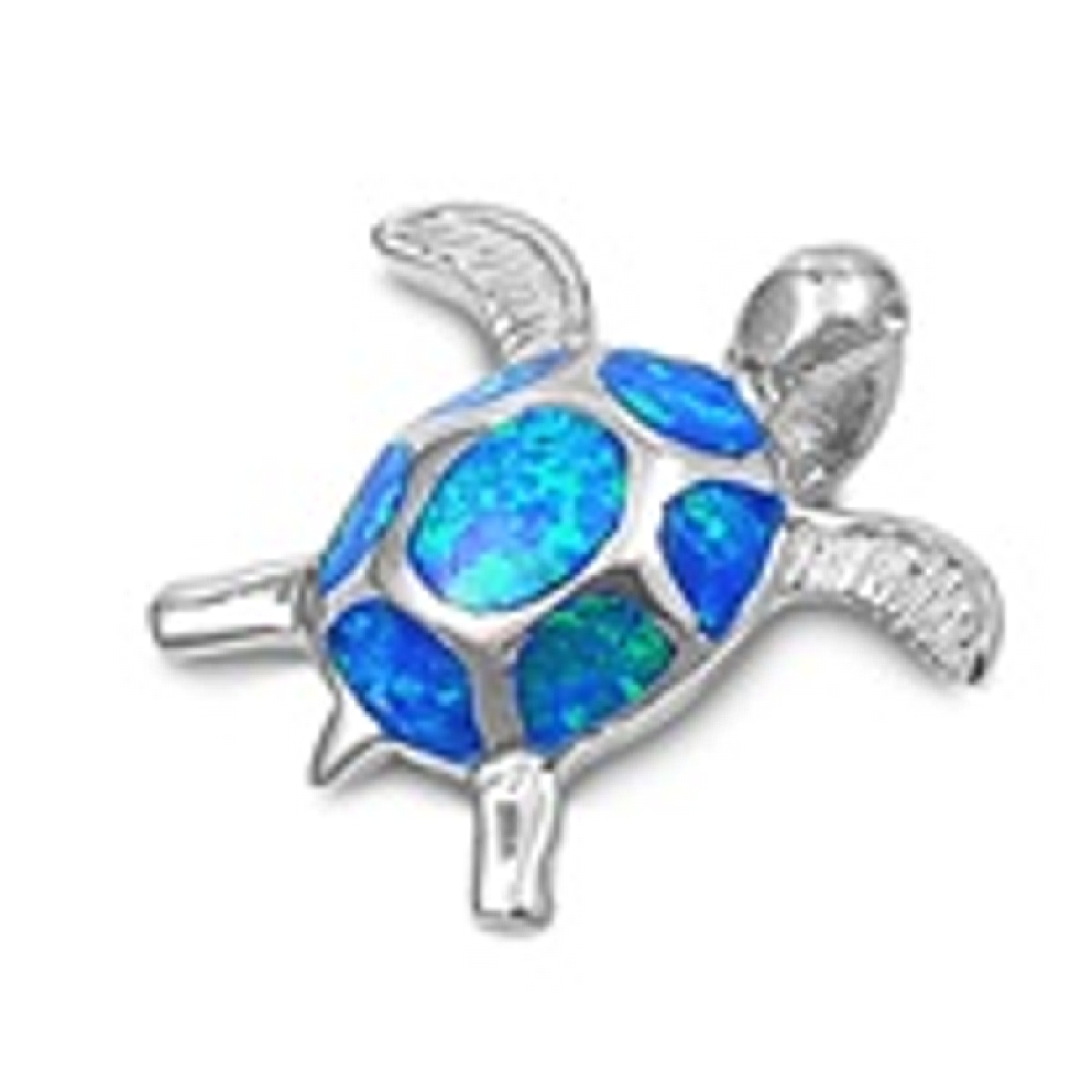 Small Turtle Pendant With Blue Green Synthetic Opal Shell
