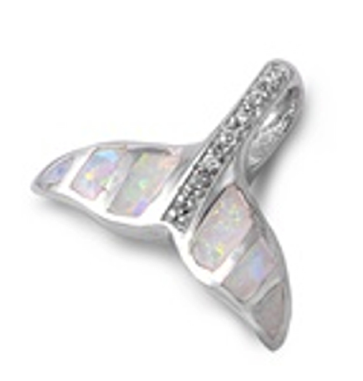 Whale Fluke Pendant With Pearlized Opal And Cubic Zirconia Center