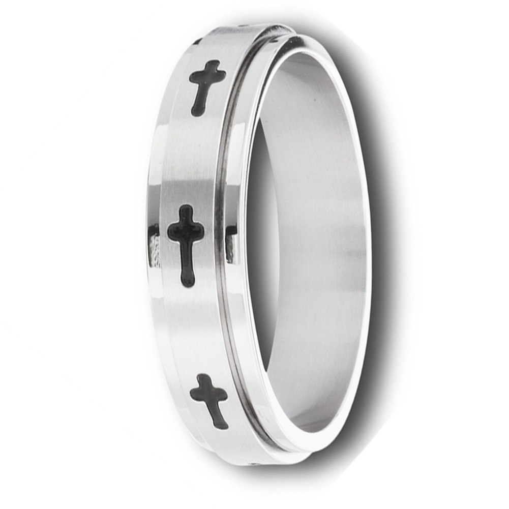 Stainless Steel Unisex Christian Cross Spinning Spinner Ring