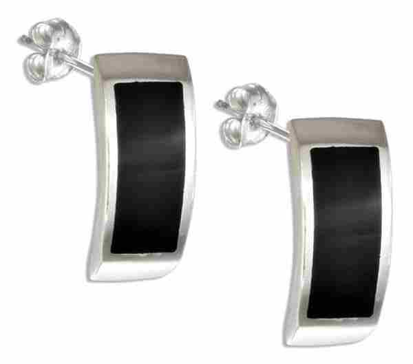 Black Onyx Inlay Cuff Earrings